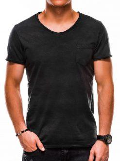 Juodi vienspalviai vyriški marškinėliai internetu pigiauS1049 13318-1