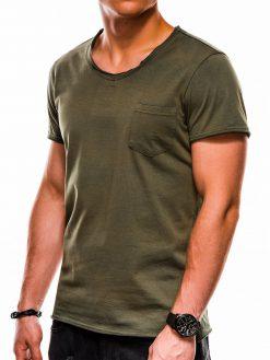Chaki vienspalviai vyriški marškinėliai internetu pigiau S1049 13320-2
