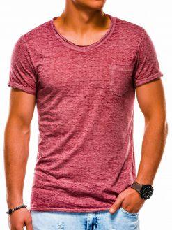 Tamsiai raudoni vienspalviai vyriški marškinėliai akcija S1051 13326-3