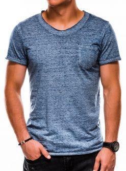 Tamsiai mėlyni vienspalviai vyriški marškinėliai akcija S1051 13327-1