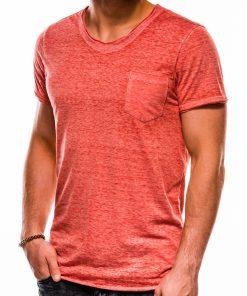 Koraliniai vienspalviai vyriški marškinėliai akcija S1051 13328-4