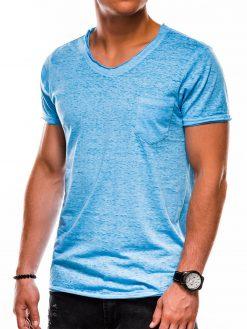 Mėlyni vienspalviai vyriški marškinėliai akcija S1051 13329-2