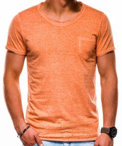 Oranžiniai vienspalviai vyriški marškinėliai akcija S1051 13330-1