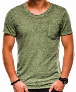 Žali vienspalviai vyriški marškinėliai internetu pigiau S1051 13332-4