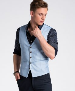Šviesiai mėlyna vyriška kostiuminė liemenė internetu pigiau V45 13337-3