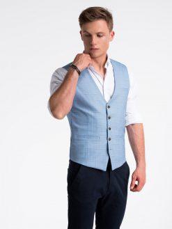 Mėlyna languota kostiuminė liemenė vyrams internetu pigiau V48 13344-1