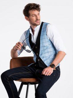 Šviesiai mėlyna languota vyriška kostiuminė liemenė internetu pigiau V49 13351-1