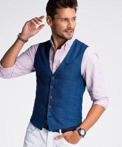 Tamsiai mėlyna languota vyriška kostiuminė liemenė internetu pigiau V50 13357-2