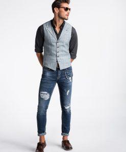 Šviesiai pilka languota vyriška kostiuminė liemenė internetu pigiau V51 13359