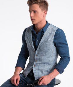 Šviesiai mėlyna languota vyriška kostiuminė liemenė internetu pigiau V51 13363