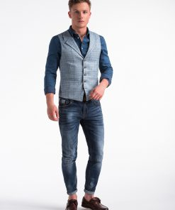 Sviesiai melyna languota vyriska kostiumine liemene internetu pigiau V51 13363-2
