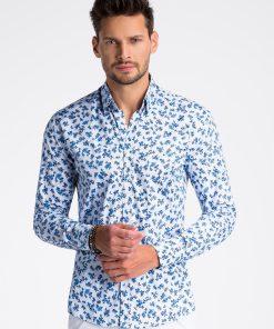 Balti gėlėti marškiniai vyrams internetu pigiau K501 13388-4