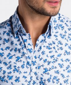 Balti gėlėti vyriški marškiniai internetu pigiau K501 13388-6