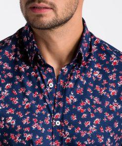 Tamsiai mėlyni gėlėti vyriški marškiniai internetu pigiau K501 13389-6