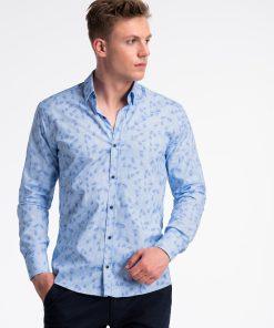 Šviesiai mėlyni gėlėti marškiniai vyrams internetu pigiau K500 13390-4
