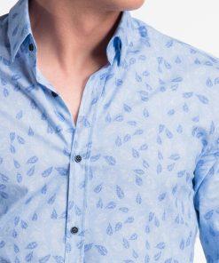 Šviesiai mėlyni gėlėti vyriški marškiniai internetu pigiau K500 13390-5