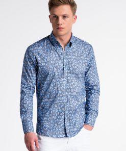 Tamsiai mėlyni gėlėti marškiniai vyrams internetu pigiau K500 13391-2
