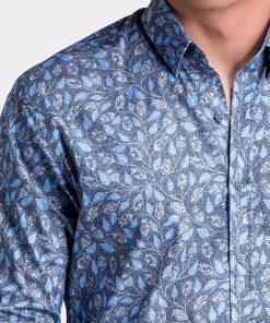 Tamsiai mėlyni gėlėti vyriški marškiniai internetu pigiau K500 13391-3