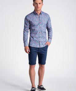 Tamsiai mėlyni-rožiniai gėlėti marškiniai vyrams internetu pigiau K500 13392-3