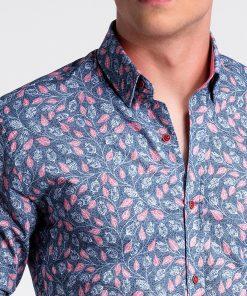 Tamsiai mėlyni-rožiniai gėlėti vyriški marškiniai internetu pigiau K500 13392-5