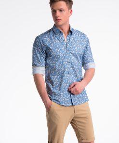 Mėlyni-rusvi gėlėti marškiniai vyrams internetu pigiau K500 13393-3