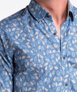 Mėlyni-rusvi gėlėti vyriški marškiniai internetu pigiau K500 13393-4