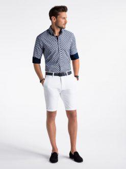 Stilingi balti-mėlyni marginti vyriški marškiniai ilgomis rankovėmis vyrams internetu pigiau K499 13395-6