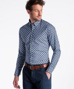 Šviesiai mėlyni marginti marškiniai vyrams ilgomis rankovėmis internetu pigiau K499 13396-6