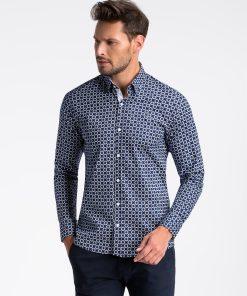 Tamsiai mėlyni-balti marginti marškiniai vyrams ilgomis rankovėmis internetu pigiau K499 13397-5