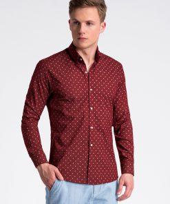 Tamsiai raudoni marginti marškiniai vyrams internetu pigiau K494 13399-1