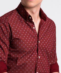 Tamsiai raudoni marginti vyriški marškiniai internetu pigiau K494 13399-6