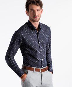 Tamsiai mėlyni marginti marškiniai vyrams internetu pigiau K494 13400-1