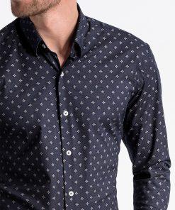 Tamsiai mėlyni marginti vyriški marškiniai internetu pigiau K494 13400-5