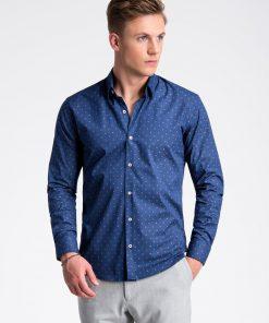 Mėlyni marginti marškiniai vyrams internetu pigiau K494 13401-3