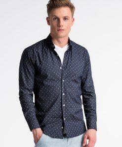 Sodriai mėlyni marginti marškiniai vyrams internetu pigiau K494 13402-5