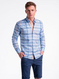 Šviesiai mėlyni languoti vyriški marškiniai internetu pigiau K493 13403-3