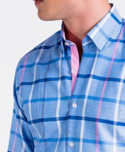 Mėlyni languoti marškiniai vyrams internetu pigiau K493 13404-2