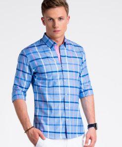 Mėlyni languoti vyriški marškiniai internetu pigiau K493 13404-3