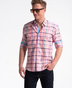 Rožiniai languoti vyriški marškiniai internetu pigiau K493 13405-4