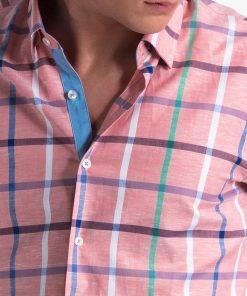 Rožiniai languoti marškiniai vyrams internetu pigiau K493 13405-6