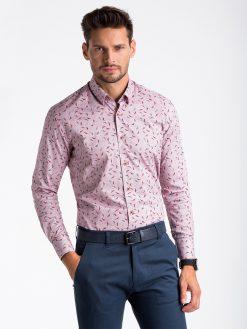 Stilingi raudoni marginti vyriški marškiniai ilgomis rankovėmis vyrams internetu pigiau K492 13406-4