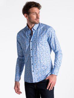 Tamsiai mėlyni marginti marškiniai vyrams ilgomis rankovėmis internetu pigiau K492 13407-3
