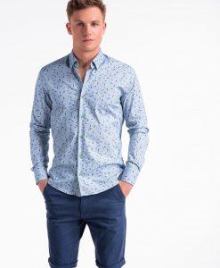 Mėlyni marginti marškiniai vyrams ilgomis rankovėmis internetu pigiau K492 13408-3