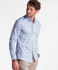 Balti-mėlyni gėlėti marškiniai vyrams internetu pigiau K491 13409-3