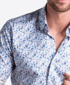 Balti-mėlyni gėlėti vyriški marškiniai internetu pigiau K491 13409-5