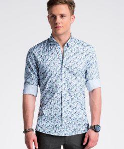 Balti-žali gėlėti marškiniai vyrams internetu pigiau K491 13410-1