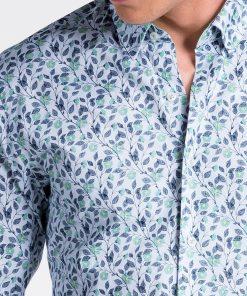 Balti-žali gėlėti vyriški marškiniai internetu pigiau K491 13410-6