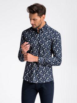 Tamsiai mėlyni gėlėti marškiniai vyrams internetu pigiau K491 13411-4