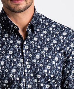Tamsiai mėlyni gėlėti vyriški marškiniai internetu pigiau K491 13411-6