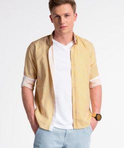 Oranžiniai/žali vyriški marškiniai ilgomis rankovėmis internetu pigiau K467 13441